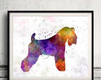 Kerry Blue Terrier 01 in watercolor 8x10 in. to 12x16 in. Fine Art Print Glicee Poster Decor Home Watercolor Illustration - SKU 1213