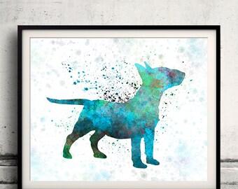 Miniature Bull Terrier in watercolor 8x10 in. to 12x16 in. Fine Art Print Glicee Poster Decor Home Watercolor Illustration - SKU 1216