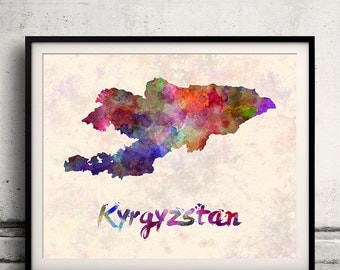 Kyrgyzstan - Map in watercolor - Fine Art Print Glicee Poster Decor Home Gift Illustration Wall Art Countries Colorful - SKU 1820