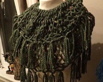 dark green shoulder shawl with red specks