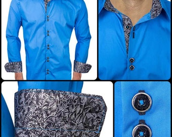 Bright Blue with Black Metallic Men's Designer Dress Shirt - Made To Order in USA