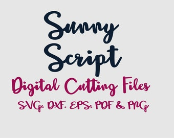 SVG Font Cut Files, Alphabet Cutting Fonts in Svg Dxf Eps for Silhouette & Cricut, Sunny Script Vector Letters