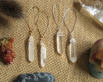quartz point long dangle kidney wire earrings: ethereal point earrings ER100-clr