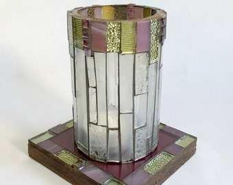Candle Holder Lilac and Gold