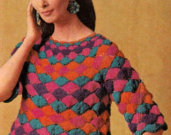 Crochet Sweater Mexican Fiesta Blouse Pattern PDF Instant Download Sizes SML 10-16