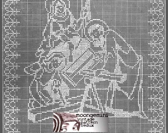 Filet Crochet The Holy Family Religious Panel Pattern Jesus as a Child The Carpenter