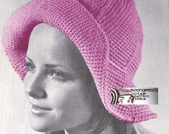PDF Crochet Sou'wester Floppy Brim Hat Pattern Instant Download