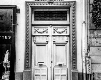 "Paris Photography, Paris Art, Wall Decor, Black and White, Architecture, Paris Door photo, european door print, ""Paris Door Details"""