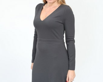 Plus Size Grey casual Dress  a line dress a line with long sleeve and v neck