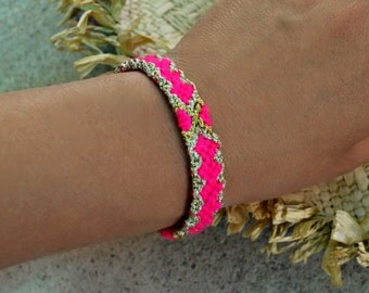 Friendship Bracelet In Hot Neons Pink Friendship bracelet Handwoven Bracelet Ibiza Style Bracelet Neon Pink And Gold Arm Candy Gift For Her