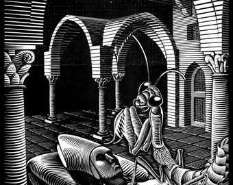 "M C Escher Print, Escher Art, ""Dream"", Circa 1935, Vintage Print, Book Plate Page, Fantasy Illustration, Ready To Frame"