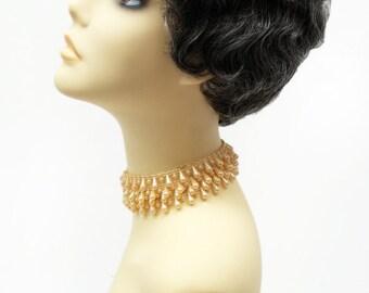 1920s Style Short Salt N Pepper Dark Gray Finger Wave Wig. Marcel Wave Vintage Style Costume Wig. Heat Resistant Wig. [69-376-HTBebe-44]