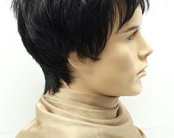 Black Short Spiky Style Men's Wig. Synthetic Costume Fashion Wig. [54-290-Spike-1B]