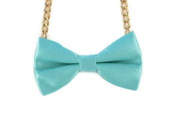 Blue Bow Tie Necklace - Bow Jewelry, Accessories, Statement Necklace - Easy No Tie Bow Tie - Great for Office, Wedding - Malibu Dream