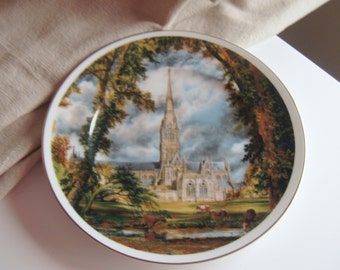 Decorative Porcelain Plate Salisbury Cathedral by Fenton China, Staffordshire, England