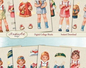 75% OFF SALE Fashion Kids - Digital Collage Sheet Digital Cards C167 Printable Download Image Tags Digital Atc Cards ACEO Fashion Cards