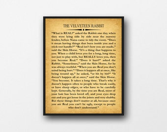 Velveteen Rabbit Book Wall Art by Margery Williams Large Book Wall Art
