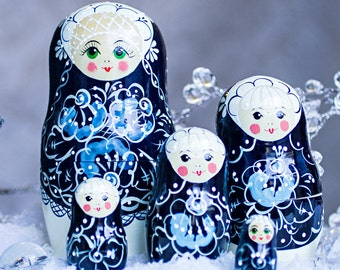 Nesting Dolls Mother of Pearl 7.5''. 5 Ct  - Matryoshka Russian Wooden Doll