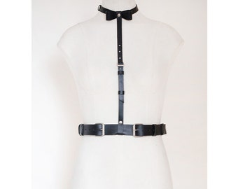 Black Women Leather Harness with a bow