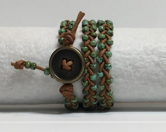 Wrap Bracelet - Turquoise on Braided Light Brown Leather