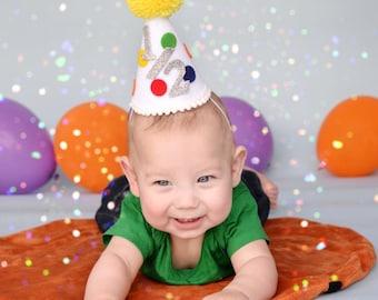 1/2 birthday hat - half birthday party hat - 1st birthday hat - first birthday hat - mini birthday hat - small birthday hat -mini party hat