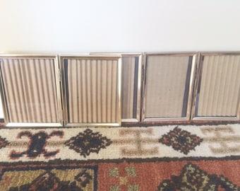 2 Brass Gold Frames Bi-Fold Tri Fold Picture Frames Vintage Picture Frames