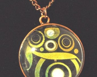 Copper Tree of Life Pendant with Green and black pattern