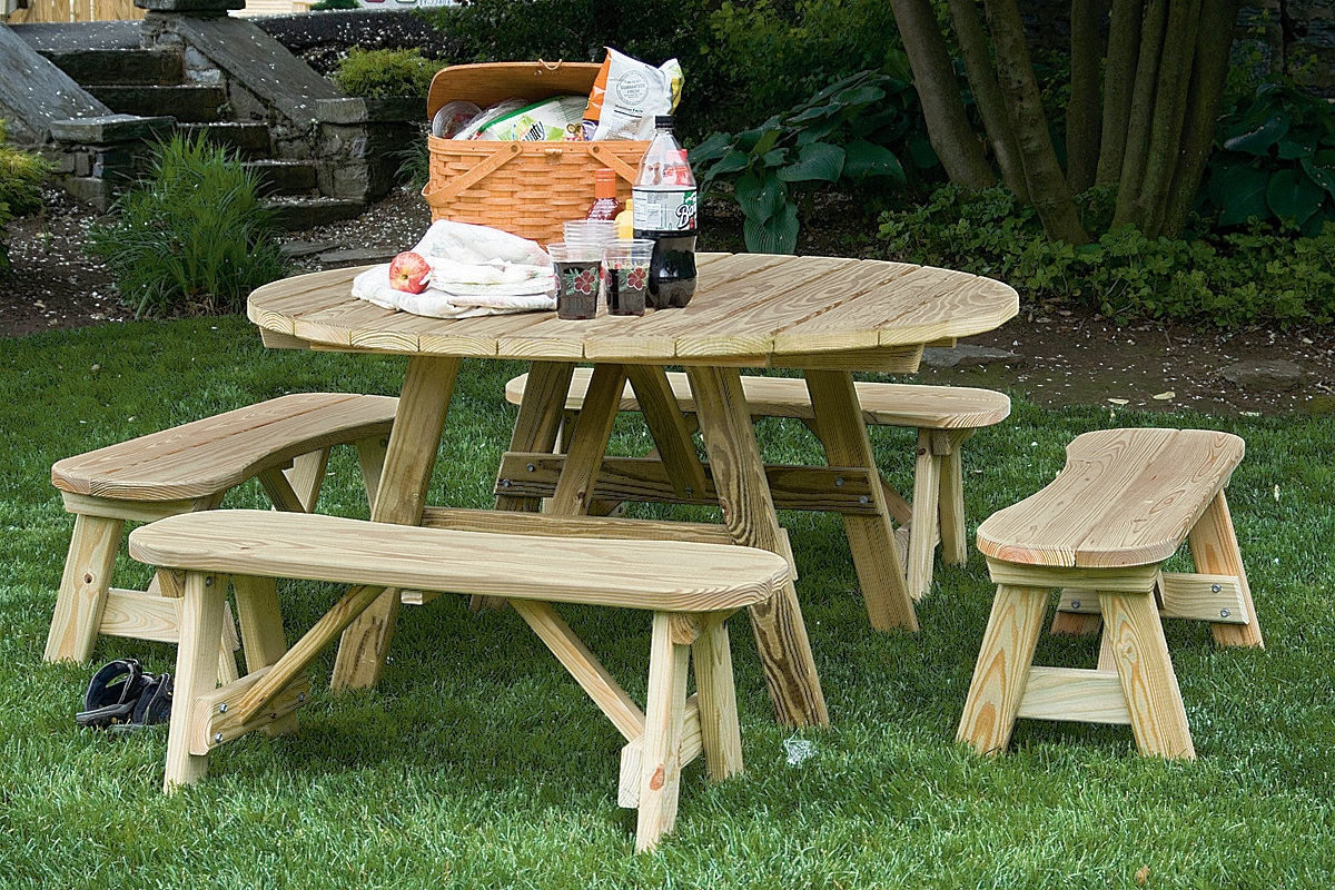 54 Inch Round Picnic Table with 4 Curved Detached Benches
