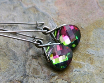 RTS Swarovski Briolette Dangle Earrings in Watermelon Pink and Green - Clearance - Last Pair