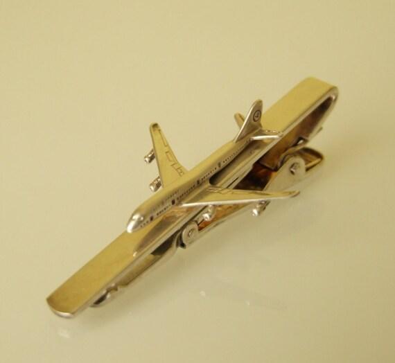 vintage sterling silver airplane tie clip