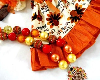 Turkey Outfit - Thanksgiving outfit - Girls Thanksgiving clothes - Turkey necklace - Fall Headband - Infant Outfit