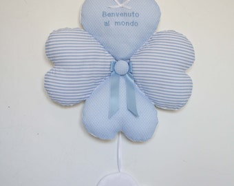 Light Blue Baby Boy's Birth Bow, Welcome home, Baby Boy is born, 4 padded hearts with a cloud. Nursery Decoration.