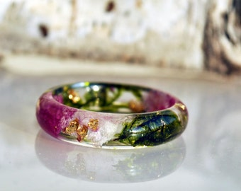 Nature Ring, Lichen Ring, Romantic ring, Terrarium Lichen Ring, Nature Floral Ring, Enchanted ring,  Moss Resin Ring, Magic Jewelry, Moss