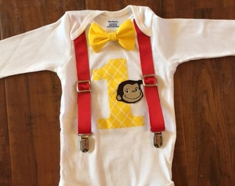 Curious George Custom Birthday Onesie with Suspenders and Bow Tie