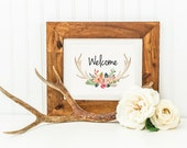 Antler Welcome Sign Cabin Decor Lodge Decor Rustic Deer Antlers Elk Antlers Rustic Antlers Home Decor Wildlife Welcome