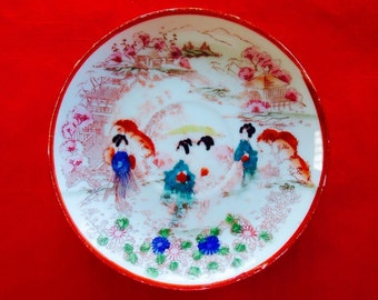2 Saucers PORCELAIN GEISHA WARE Hand Painted in Japan 1940s Vintage