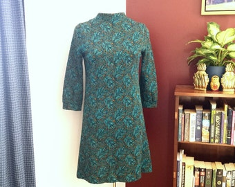 Vintage Mod dress, 1960's dress, teal and mustard dress, a line dress, high neck dress, vintage day dress,