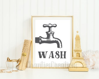 Wash Faucet Bathroom Printable. Bathroom Wall Art Printable. Wash Hands Bathroom Printable.