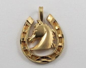 Horse Head in Horseshoe 10K Gold Vintage Charm For Bracelet