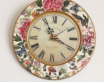 Vintage Wooden Wall Clock, Unique Wall Clock RETRO STYLE