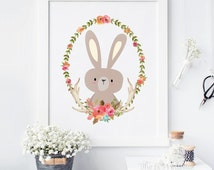 Bunny Floral Antler Wreath Printable, Watercolor Wall Art, Nursery Wall Decor, Nursery Bunny, Woodland Printable, Woodland Animal Print