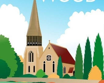 Colliers Wood Poster Vintage Style London
