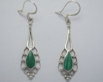 Malachite earrings vintage dangling and sterling silver