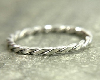 Silver stacking ring, Twisted stack ring, rope ring, dainty stackable ring - twist square wire ring