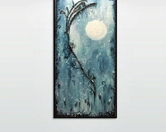 Winter Moon - Original Mixed Media Abstract Painting