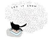 cat christmas card - cat holiday card - cat card - cat secular holiday card - black cat card - cat blank card - kitty litter card card