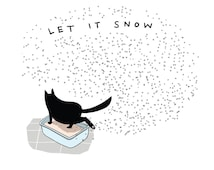 funny cards (8 cards) - funny cat cards - black cat postcards - cat postcards - let it snow cards - holiday - christmas cards