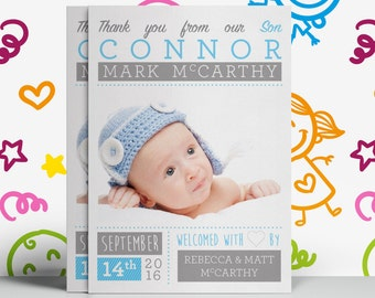 Birth Announcement & Baby Thank You Card (Printable) by the Thank You Card co.