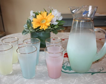 Vintage Blendo Frosted Juice Set: Pitcher and 6 Juice Glasses, West Virginia Glass Co.