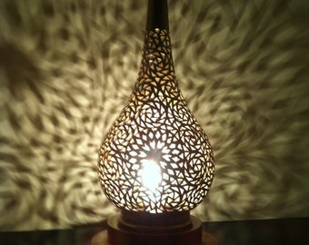 Authentic Moroccan Brass Table Lamp, Oriental Lightning, Romantic Lightning, Arabic Lightning MEDIUM
